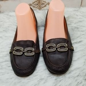 Coach Ella brown leather loafers sz 9